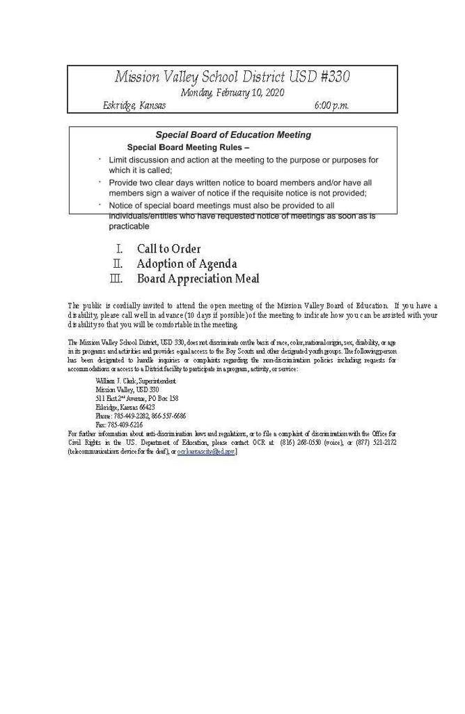 Special Bd. Meeting on Monday, February 10, 2020 Agenda