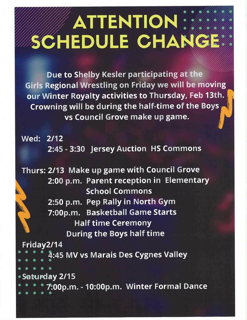Winter Royalty schedule change flyer Feb. 13, 2020