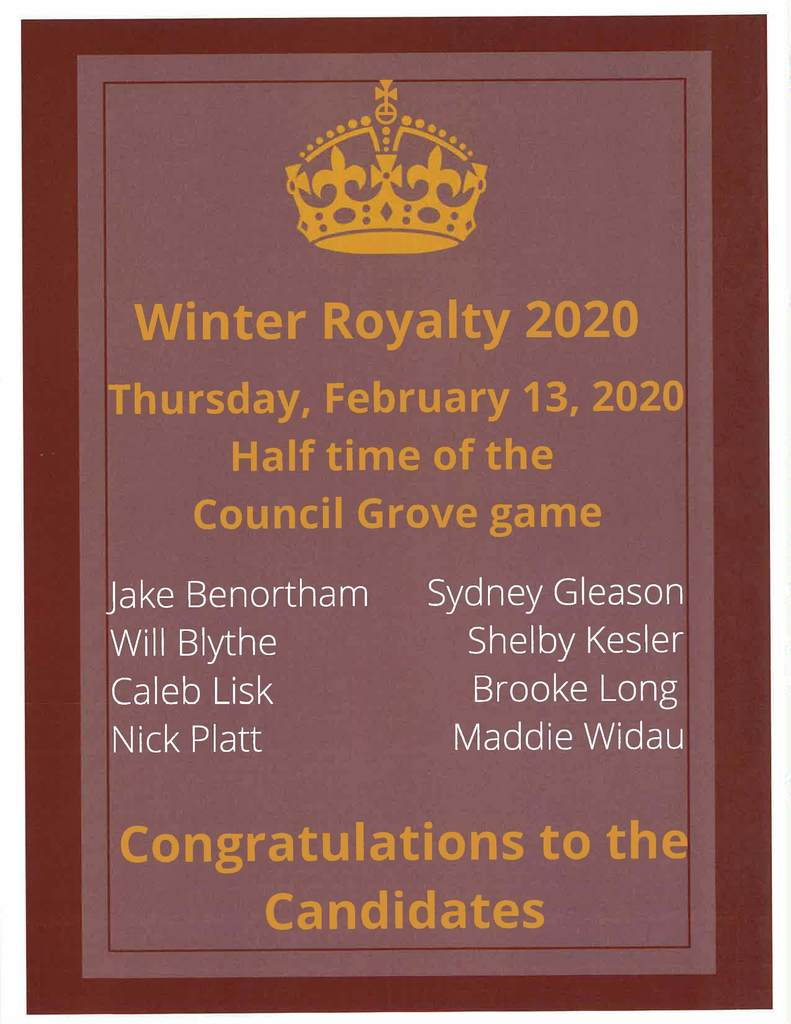 Winter Royalty Candidates & Crowning on February 13, 2020