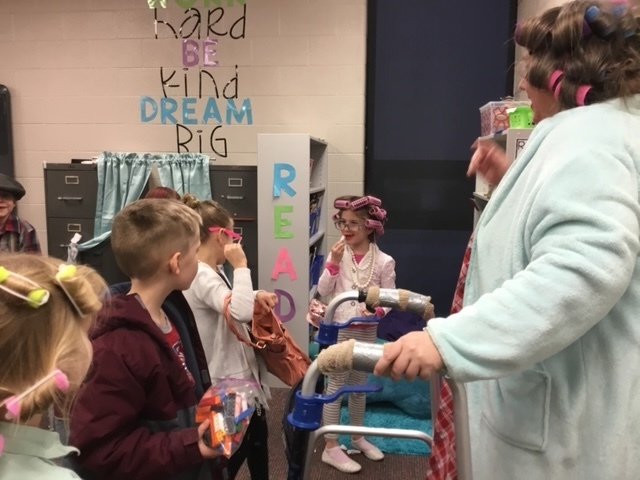 First graders dressed as 100 year olds for the 100th day activities