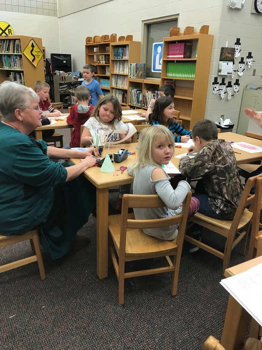Picture of Elementary Students working on Groundhog Day projects