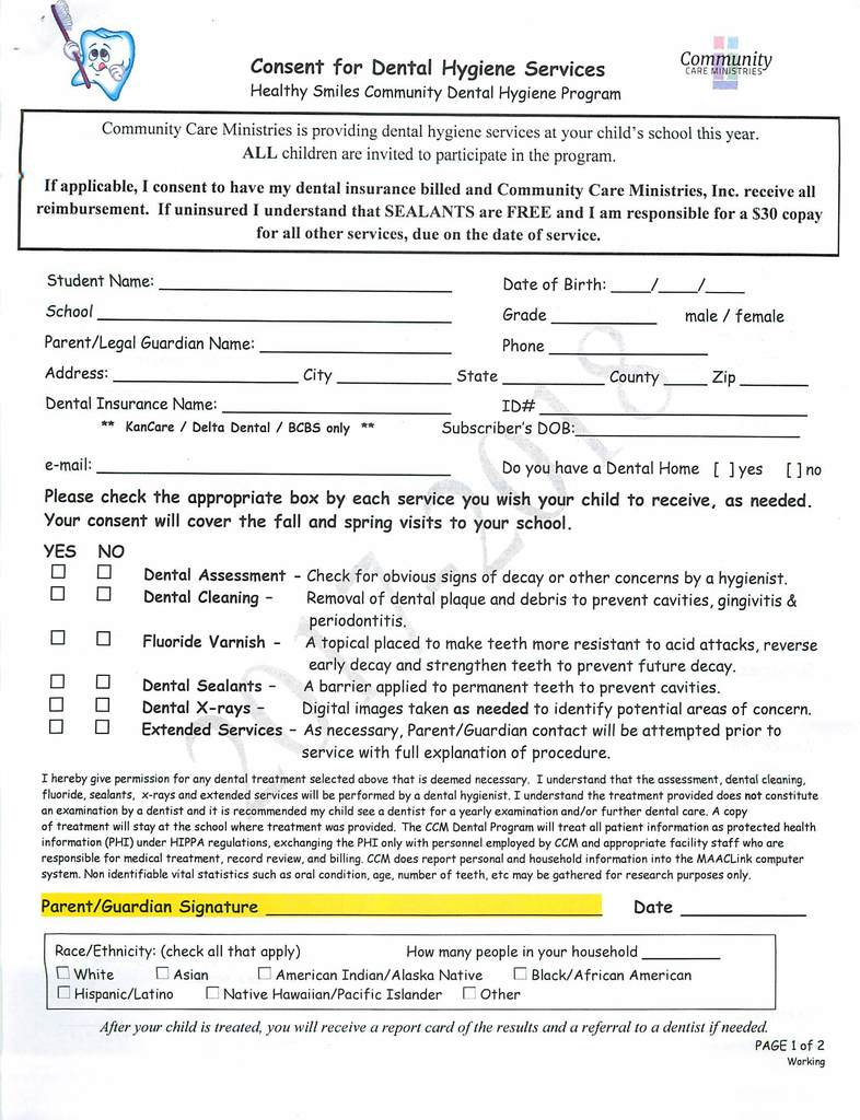 Healthy Smiles Consent Form page 1