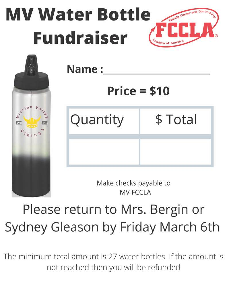 FCCLA water bottle fundraiser order form