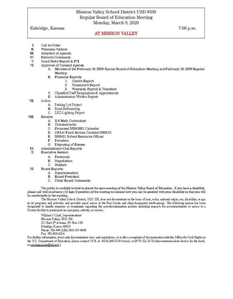 Monday, March 9, 2020 Board of Education Meeting Agenda