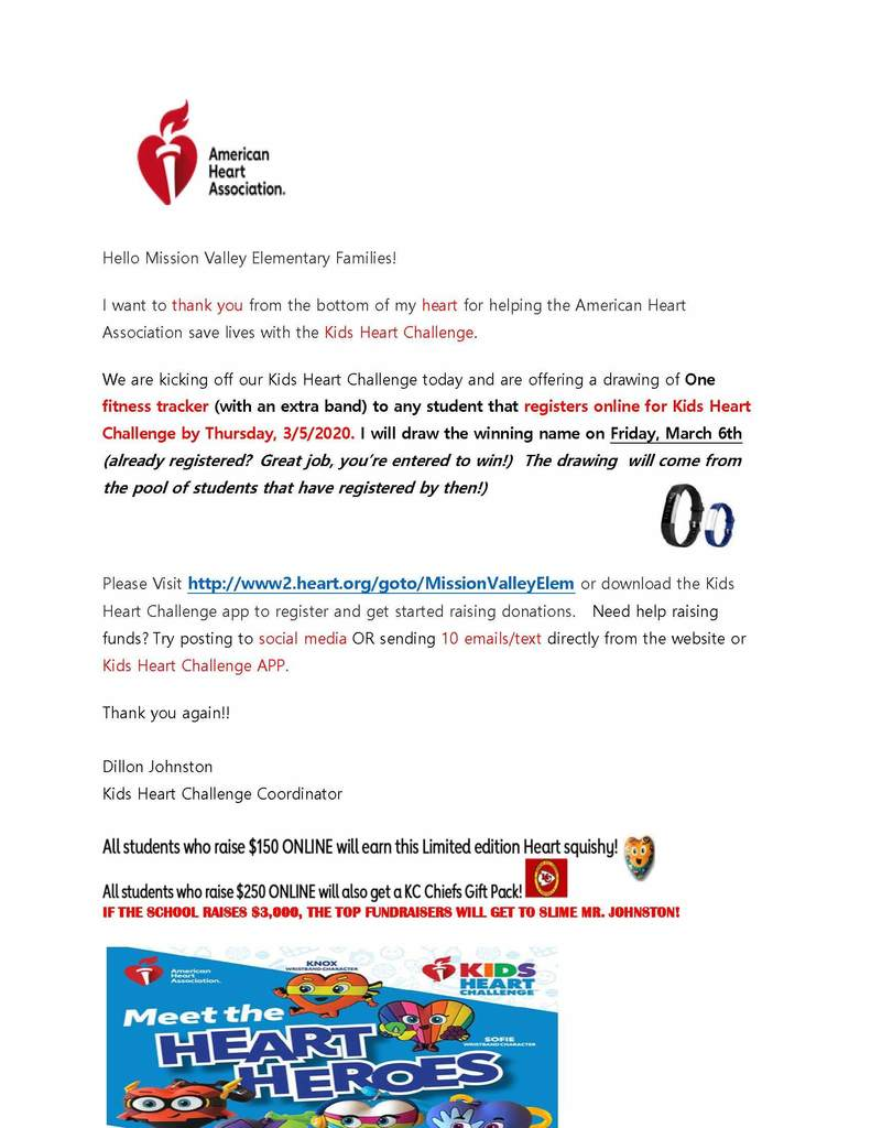 Kids Heart Challenge Flyer for Elementary students