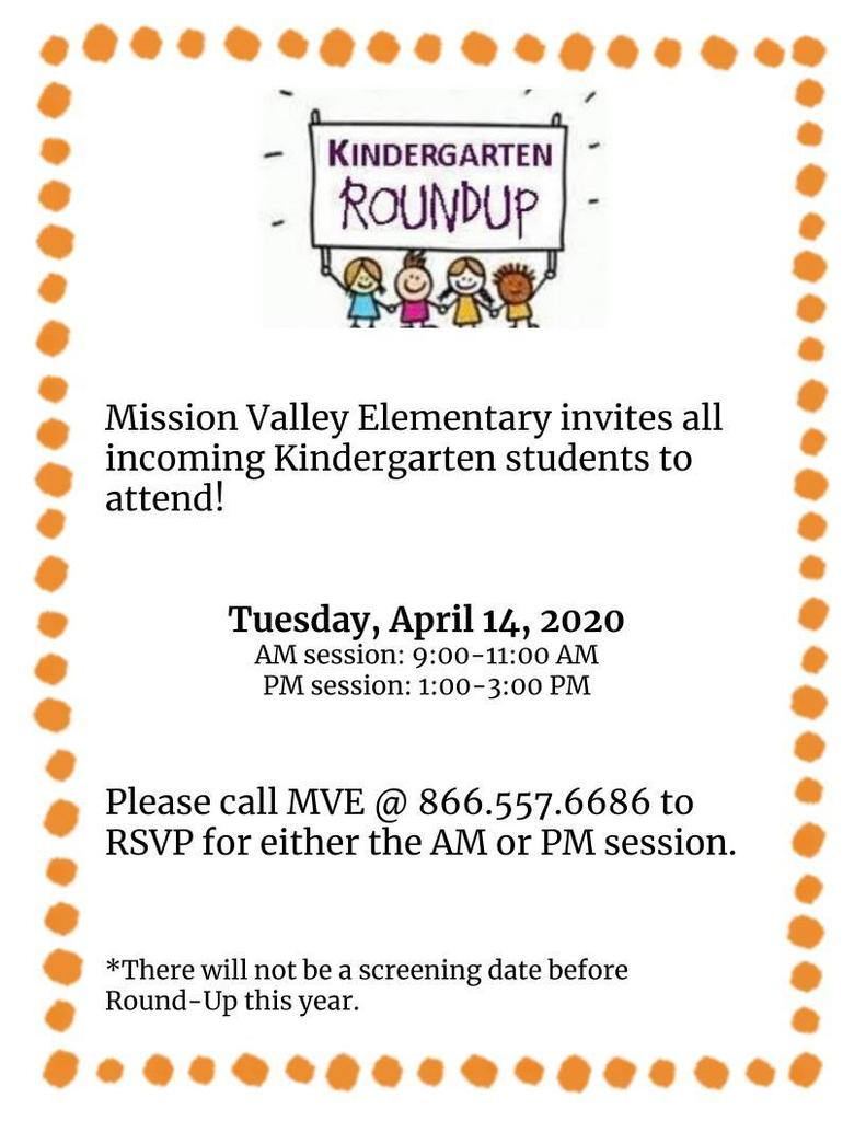 Kindergarten Roundup Flyer for April 14