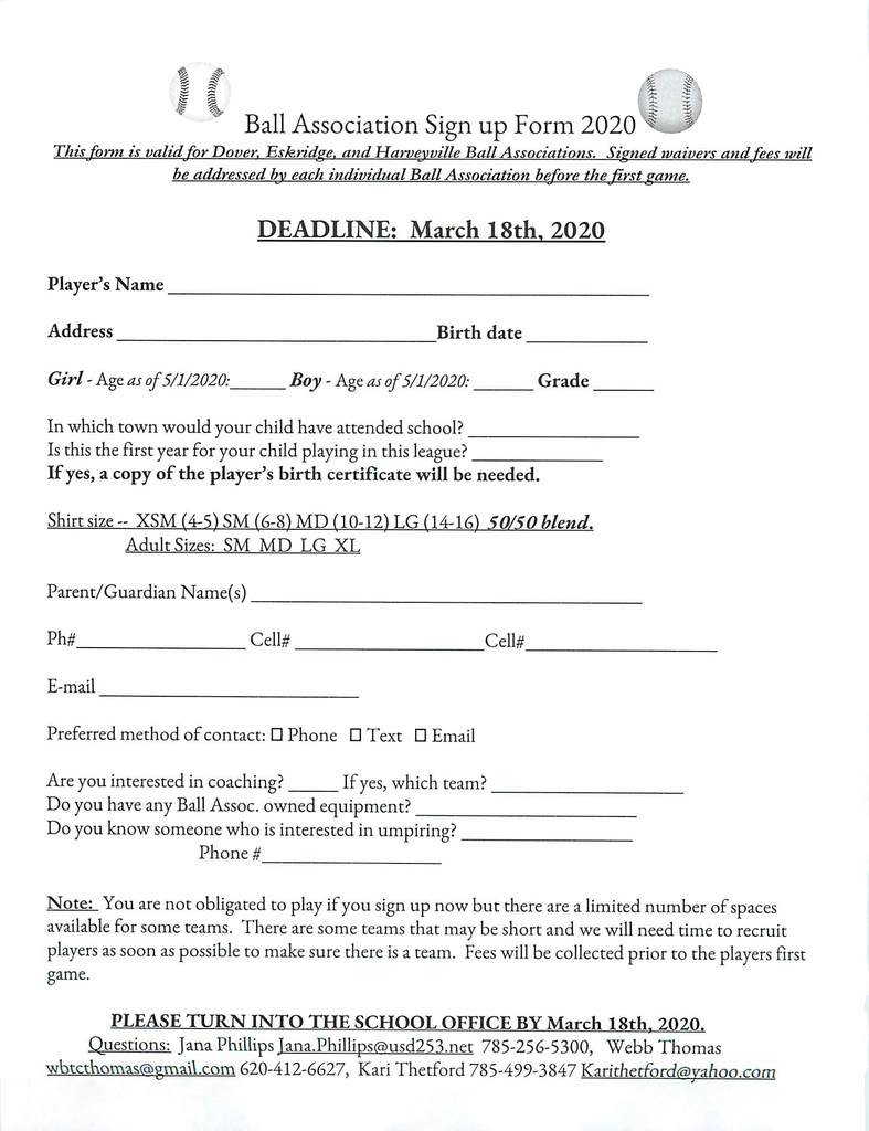 Ball Association Sign Up Form  for 2020
