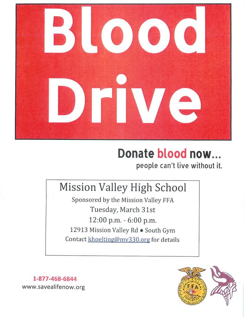 MV FFA Blood Drive on Tuesday, March 31st from 12:00-6:00 pm.
