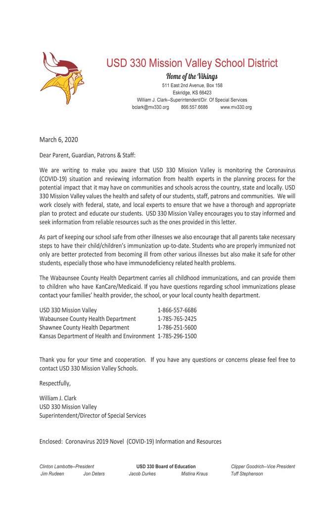 Letter from Mr. Bill Clark, Superintendent on MV's plan on the Coronavirus