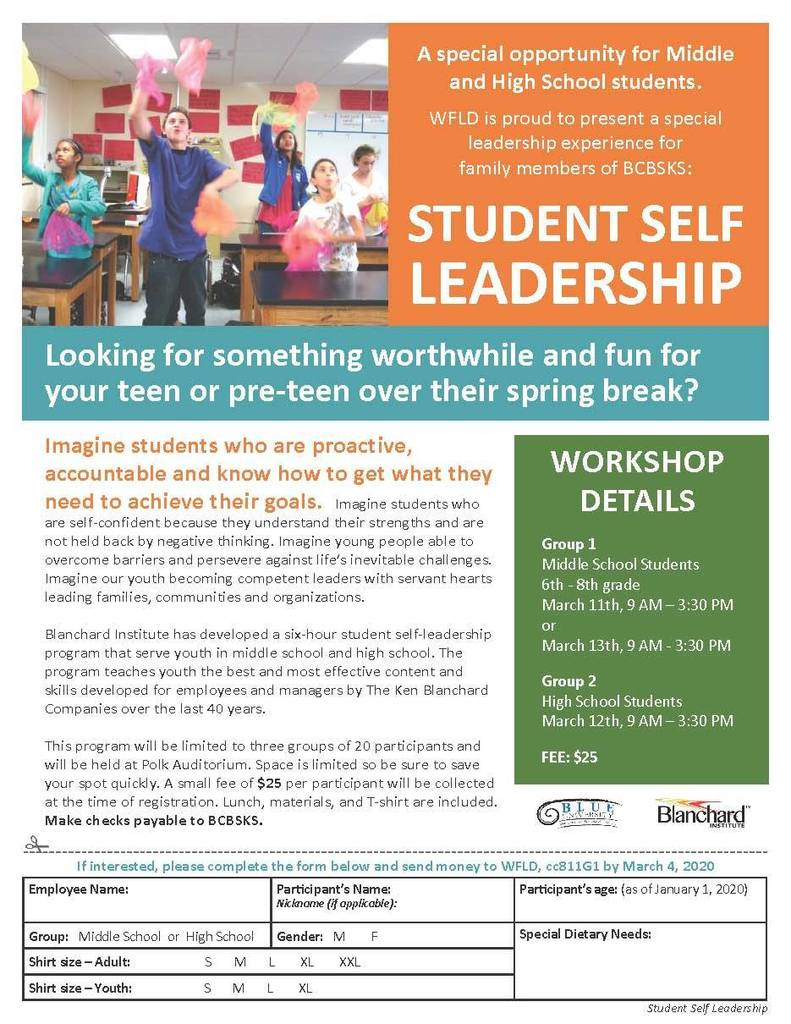 BCBS Student Self Leadership Opportunity Flyer