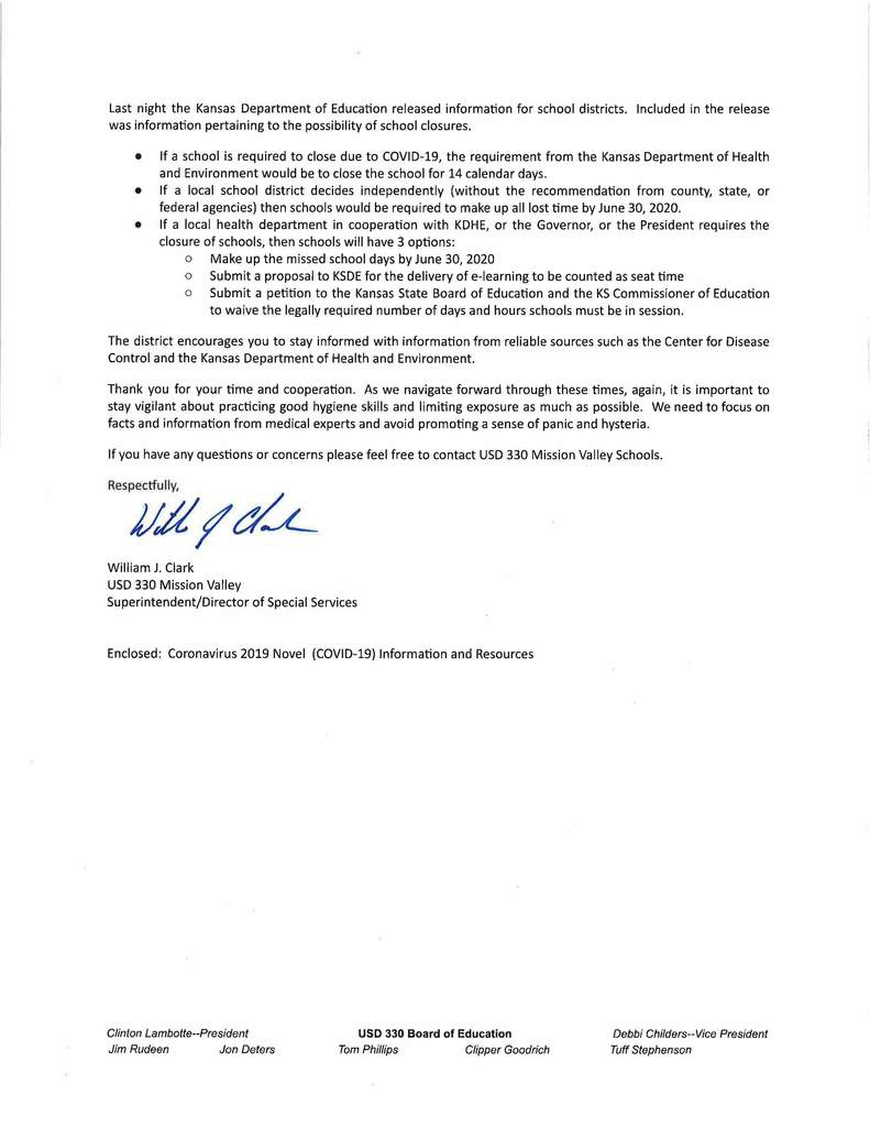 Updated Coronavirus letter from Bill Clark, page 2