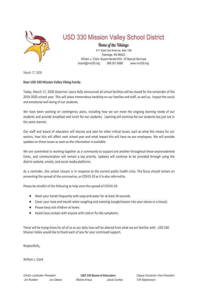 Bill Clark's letter addressing school closure for the 2019-2020 school year.