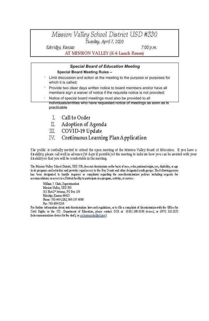 Special Bd. Meeting on Tues. April 7 Agenda