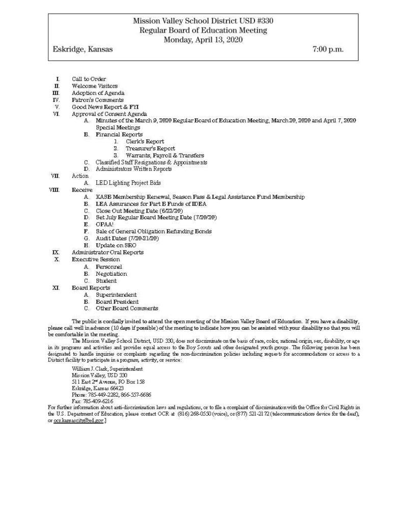 April 13, 2020 Bd. Meeting Agenda