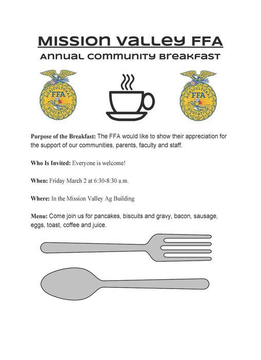 FFA Appreciation Breakfast Flyer