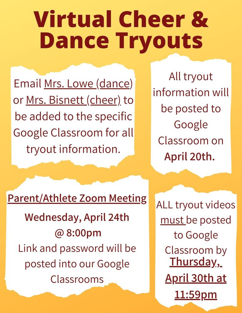 Virtual Cheer and Dance Tryout Information Flyer