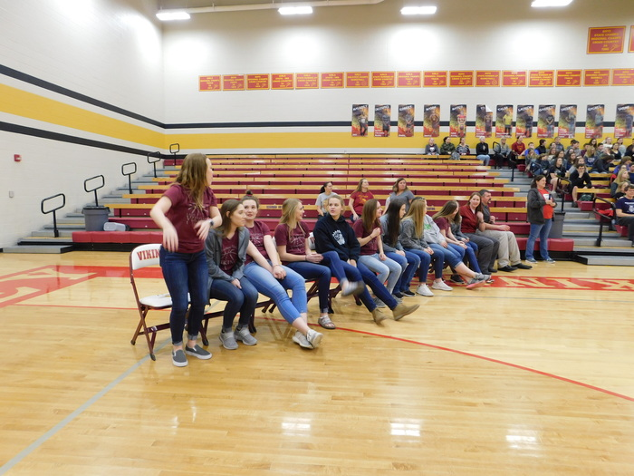 The HS Girls Basketball Team at the Pep Assembly