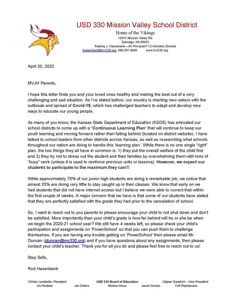 Letter to JH Parents about the Continuous Learning Plan