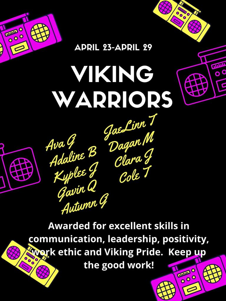 Jr. Viking Warriors - Congratulations!