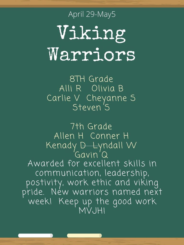 MVJH Viking Warriors for this Week - Flyer