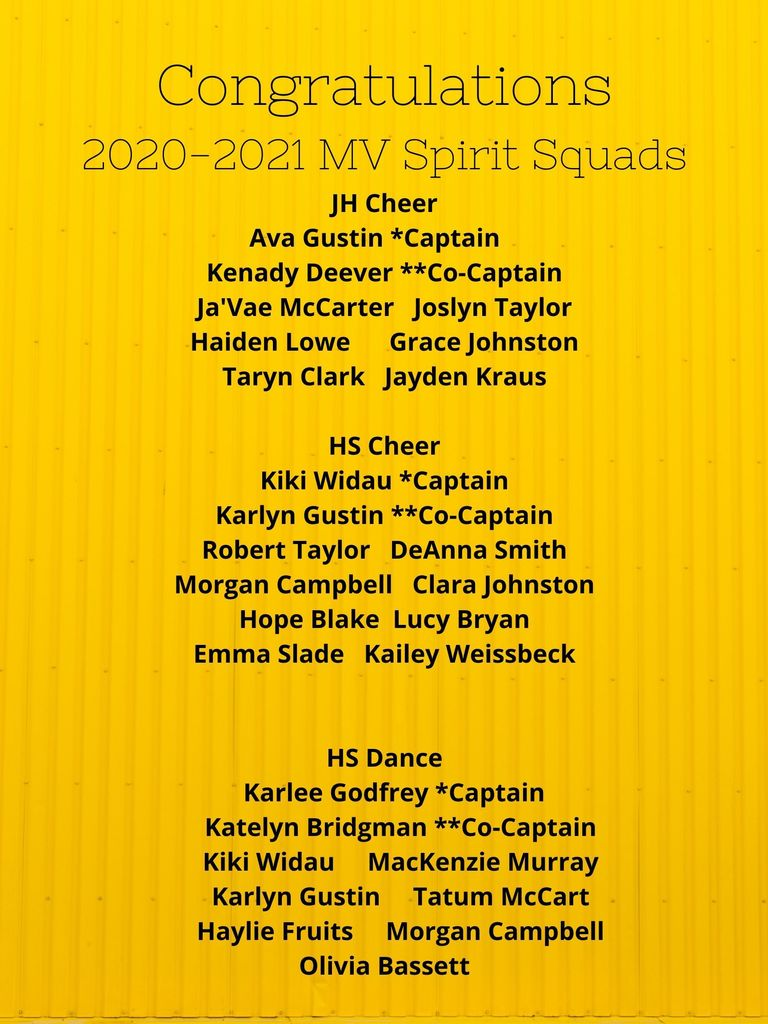 2020-21 Cheer & Dance Team Members