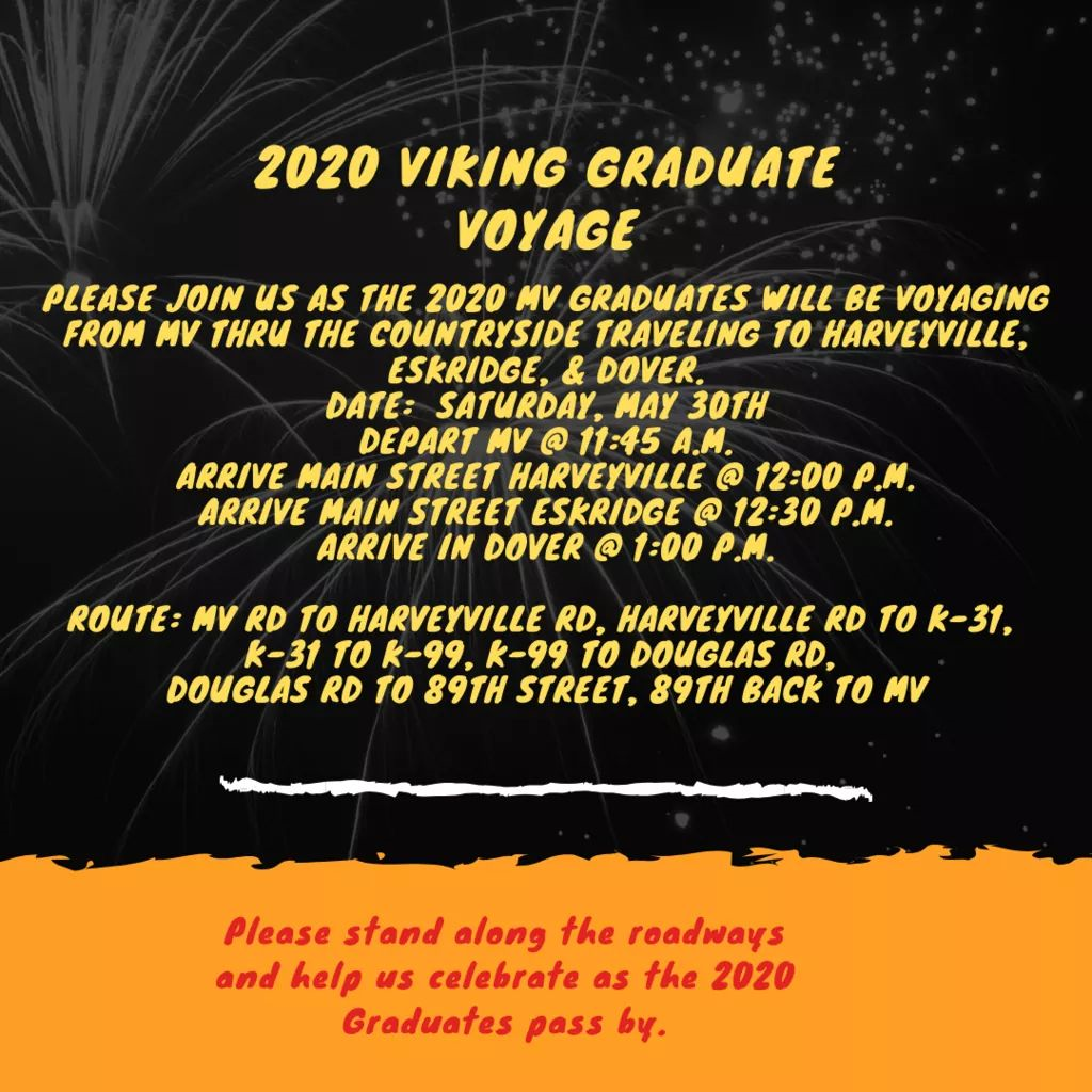 Viking Voyage 2020 Honoring graduating Seniors Flyer for May 30, 2020
