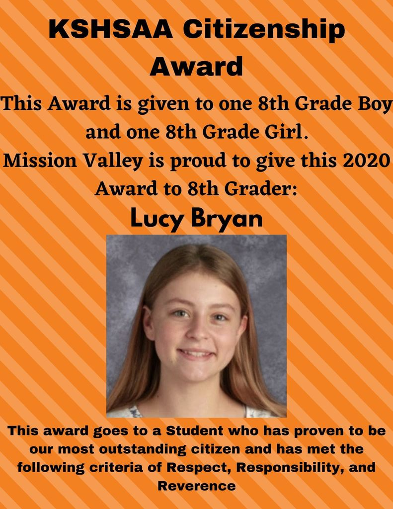 Lucy Bryan - 8th Grade girl Citizenship Award