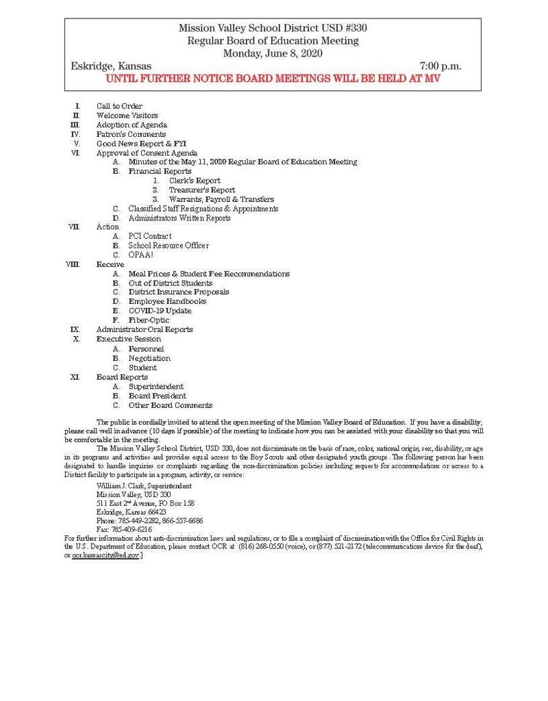 Monday, June 8th Board of Education Meeting Agenda