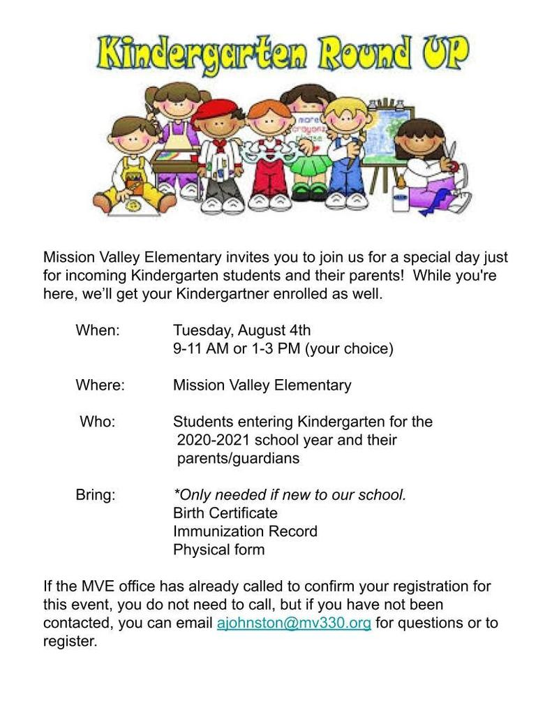 MV Kindergarten Roundup - August 4, 2020 Flyer