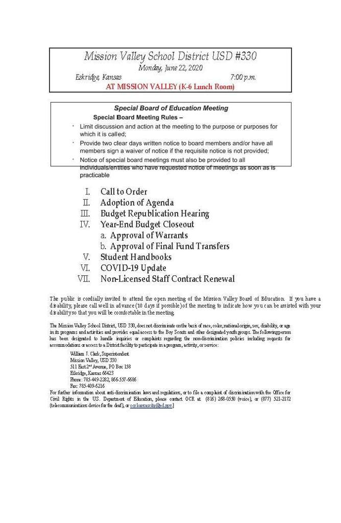 Agenda for the Special Board Mtg. on June 22, 2020