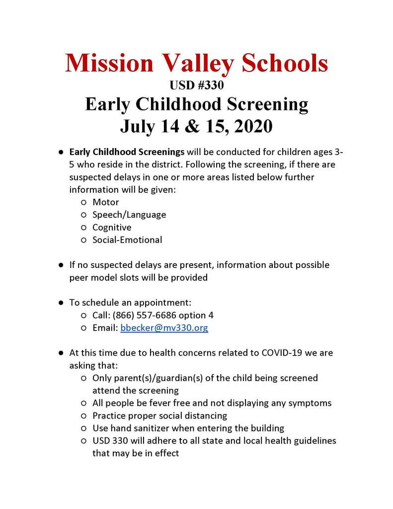 Pre-School Screening July 2020 Flyer