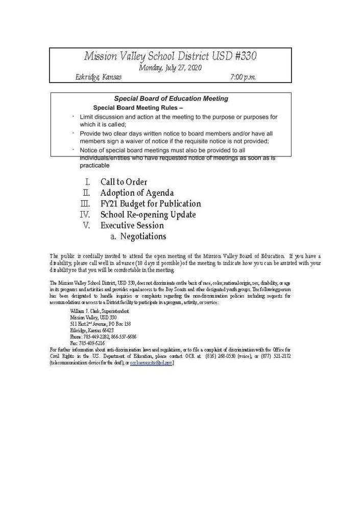 Special Board Meeting, Monday, July 27, 2020 Agenda