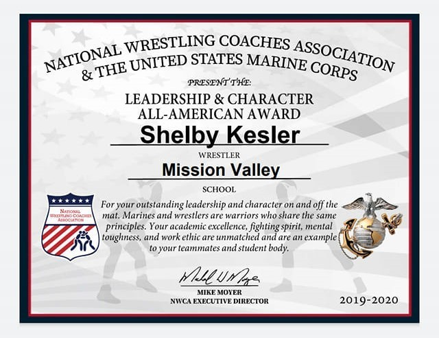 Shelby Kesler - Leadership & Character All-American Award
